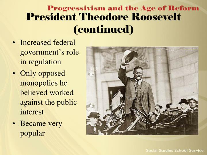 President Theodore Roosevelt (continued)