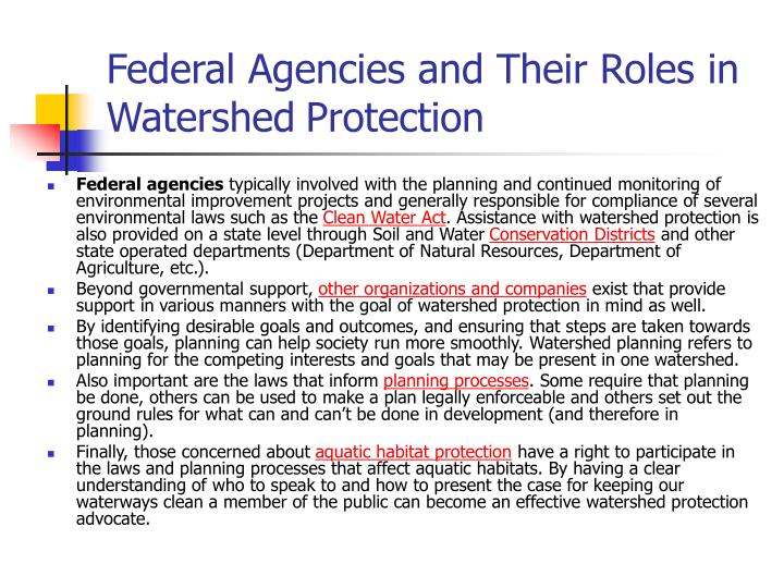 Federal Agencies and Their Roles in Watershed