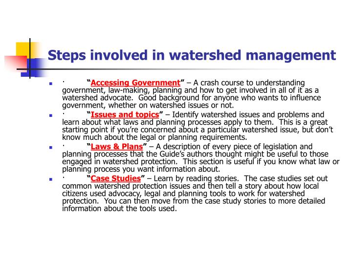 Steps involved in watershed management