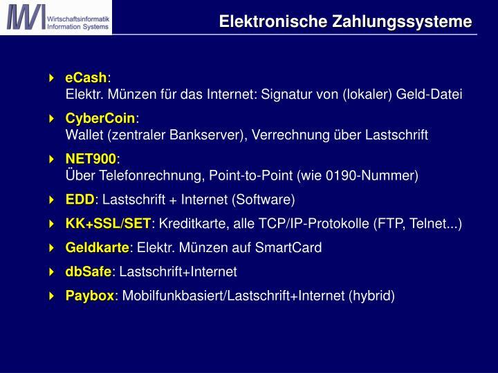 Elektronische Zahlungssysteme
