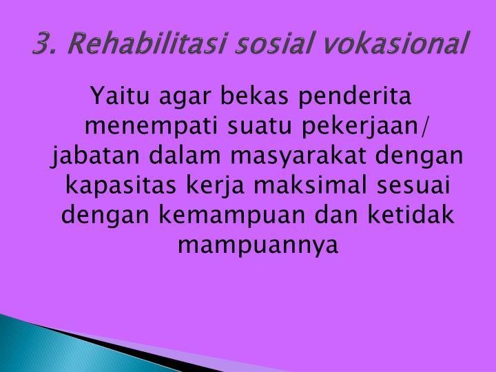 3. Rehabilitasi sosial vokasional
