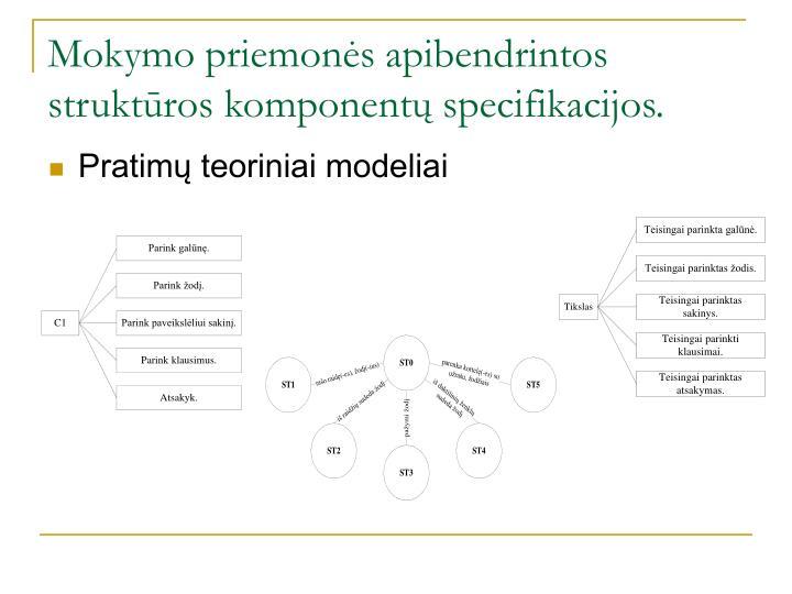 Mokymo priemonės apibendrintos struktūros komponentų specifikacijos.