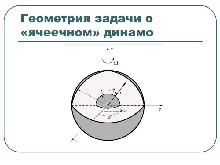 Геометрия задачи о «ячеечном» динамо