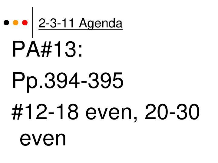 2-3-11 Agenda