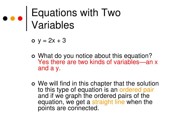 Equations with Two Variables