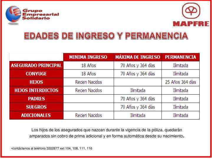 EDADES DE INGRESO Y PERMANENCIA
