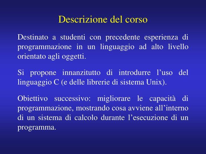 Descrizione del corso