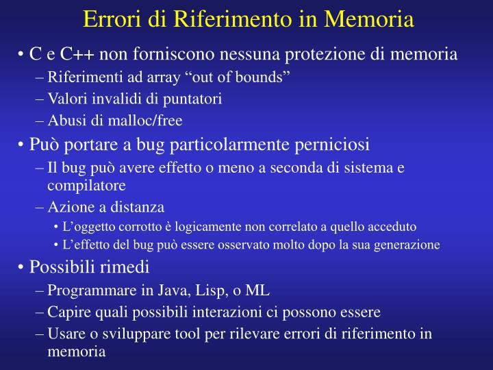 Errori di Riferimento in Memoria