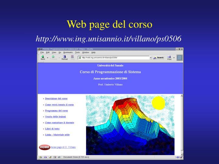 Web page del corso