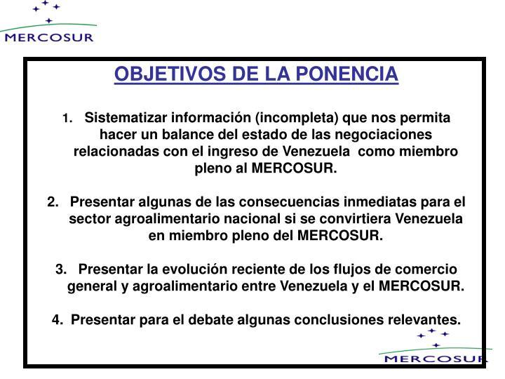 OBJETIVOS DE LA PONENCIA