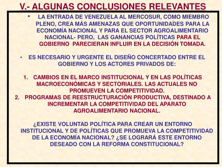 V.- ALGUNAS CONCLUSIONES RELEVANTES