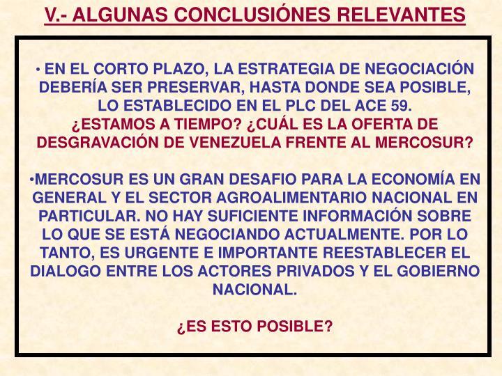 V.- ALGUNAS CONCLUSIÓNES RELEVANTES
