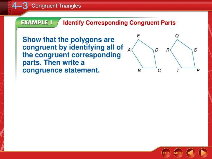 Identify Corresponding Congruent Parts