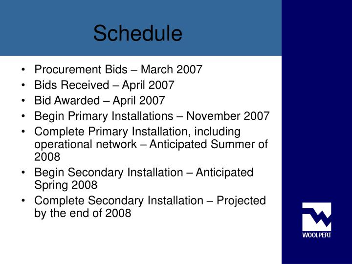 Procurement Bids – March 2007