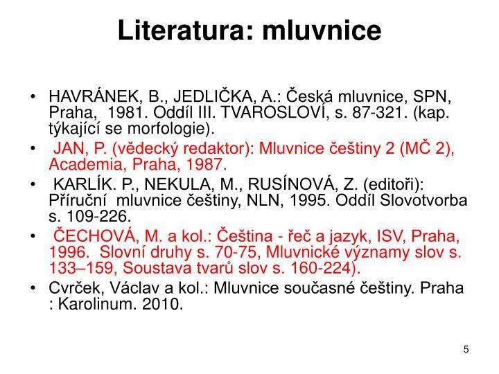 Literatura: mluvnice