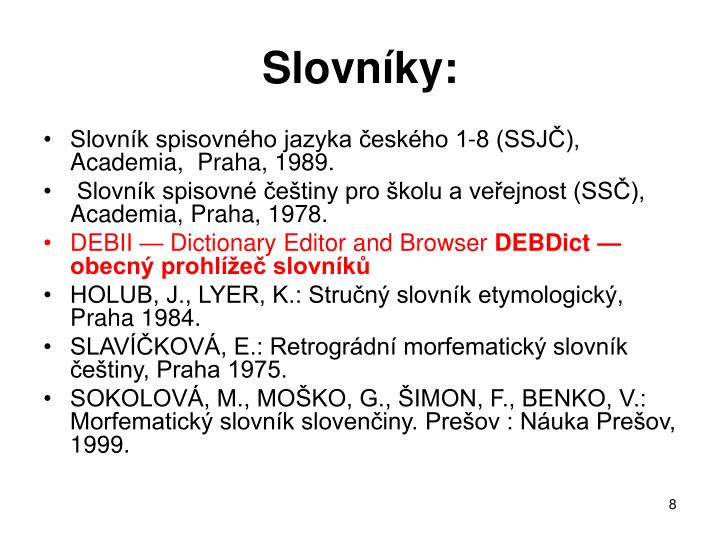 Slovníky: