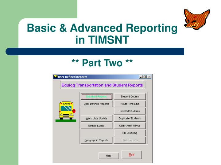 Basic advanced reporting in timsnt part two