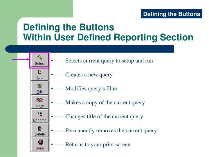 Defining the Buttons