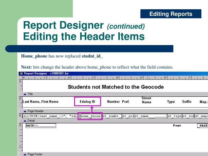 Editing Reports