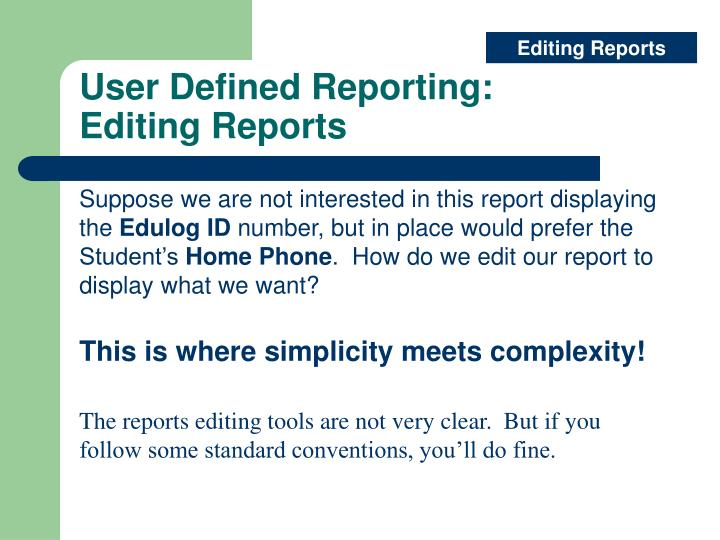 Editing Reports