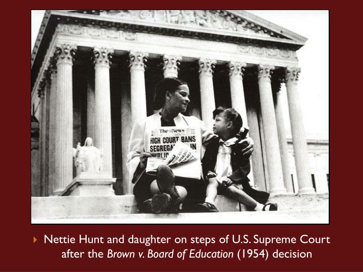 Nettie Hunt and daughter on steps of U.S. Supreme Court after the