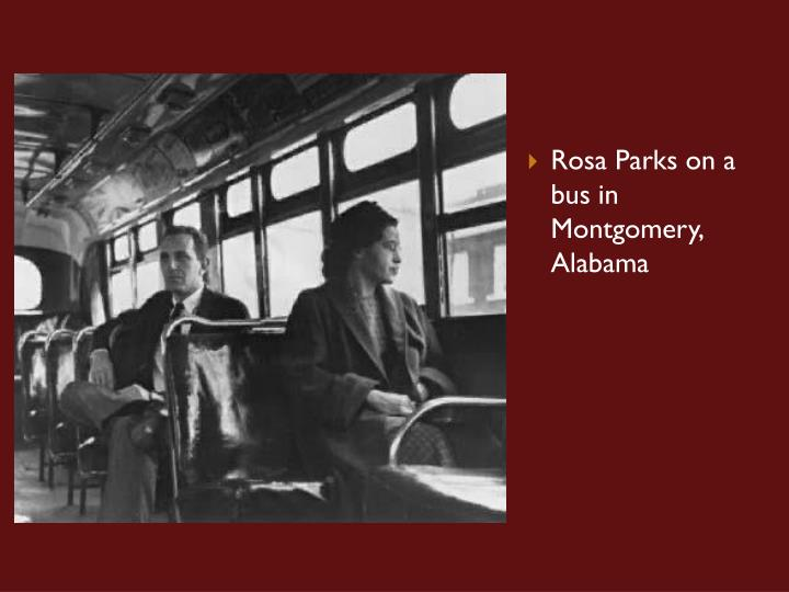 Rosa Parks on a bus in Montgomery, Alabama