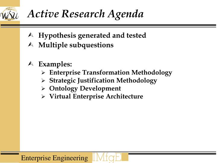 Active Research Agenda