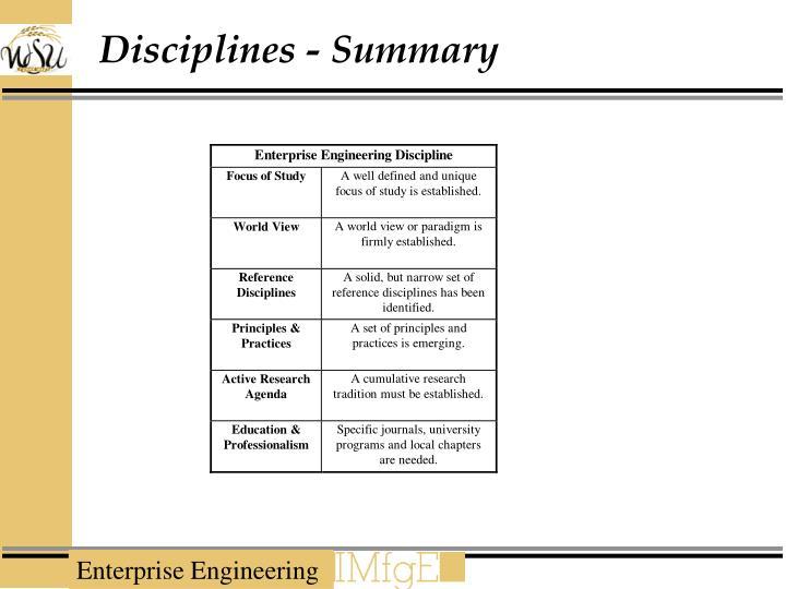 Disciplines - Summary