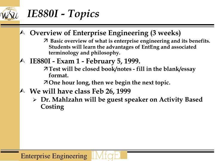 IE880I - Topics