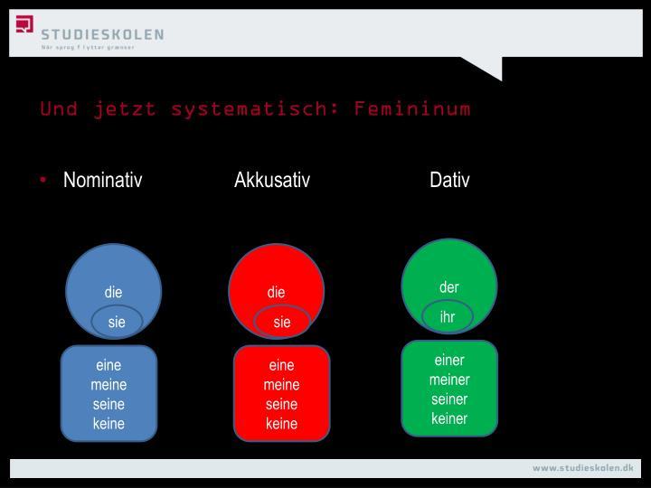 Und jetzt systematisch: Femininum