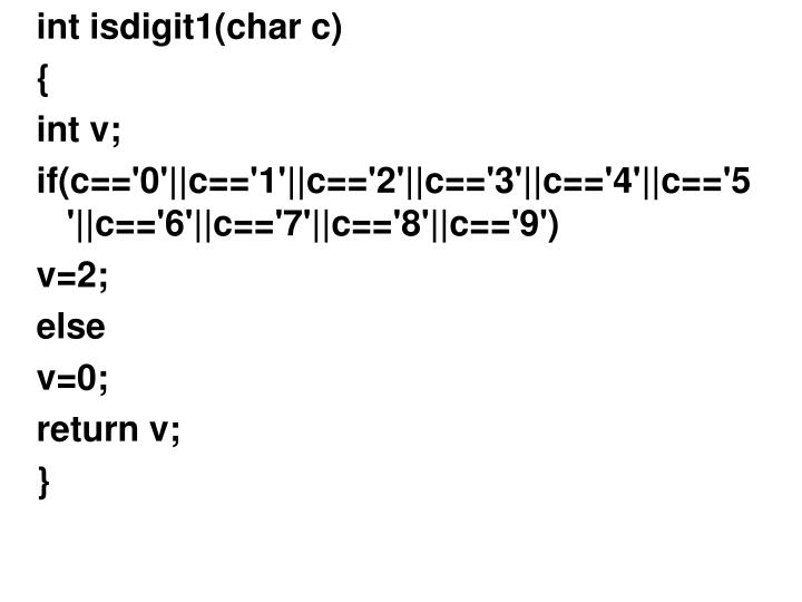 int isdigit1(char c)