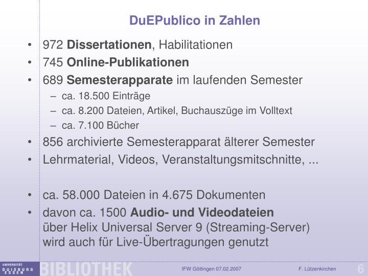 DuEPublico in Zahlen