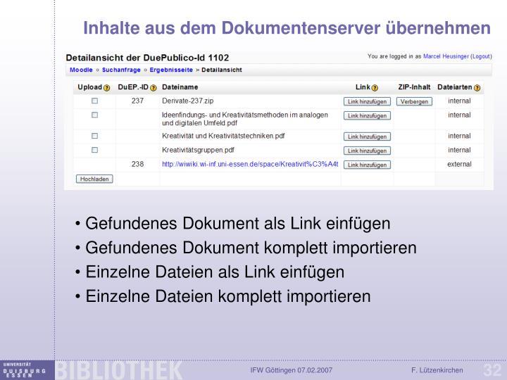 Inhalte aus dem Dokumentenserver übernehmen
