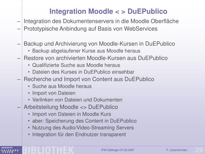 Integration Moodle < > DuEPublico