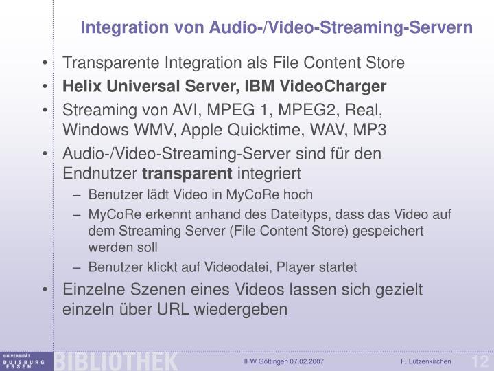 Integration von Audio-/Video-Streaming-Servern