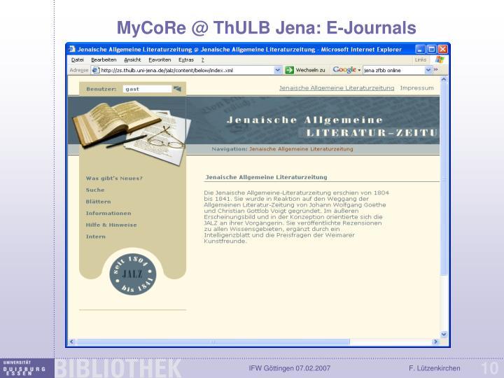 MyCoRe @ ThULB Jena: E-Journals