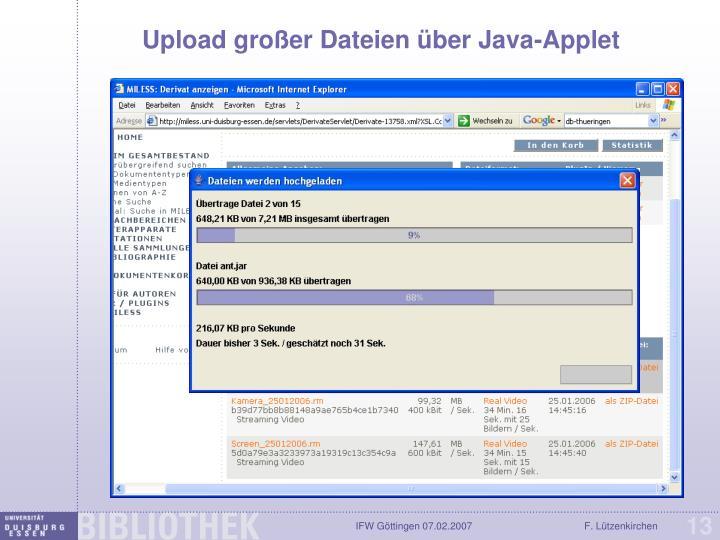 Upload großer Dateien über Java-Applet