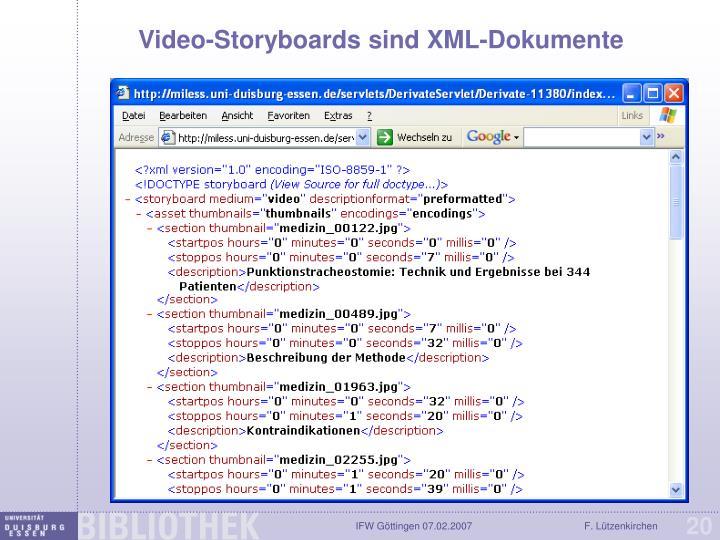 Video-Storyboards sind XML-Dokumente