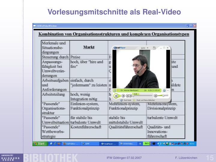 Vorlesungsmitschnitte als Real-Video