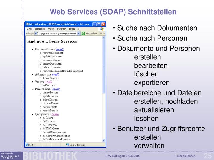 Web Services (SOAP) Schnittstellen