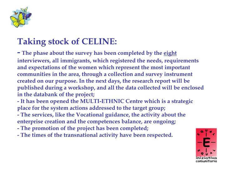 Taking stock of CELINE: