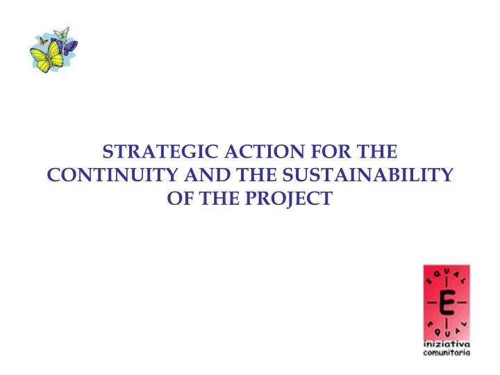 STRATEGIC ACTION FOR THE CONTINUITY AND THE SUSTAINABILITY OF THE PROJECT