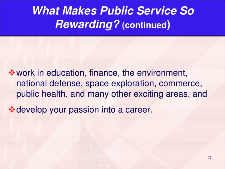 What Makes Public Service So Rewarding?