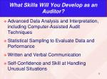 what skills will you develop as an auditor