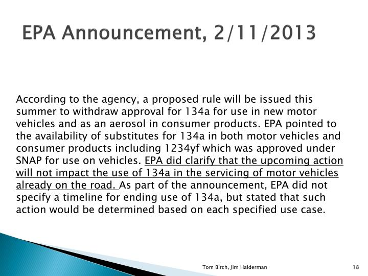 EPA Announcement, 2/11/2013