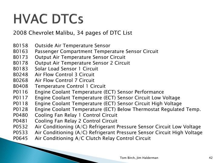 HVAC DTCs