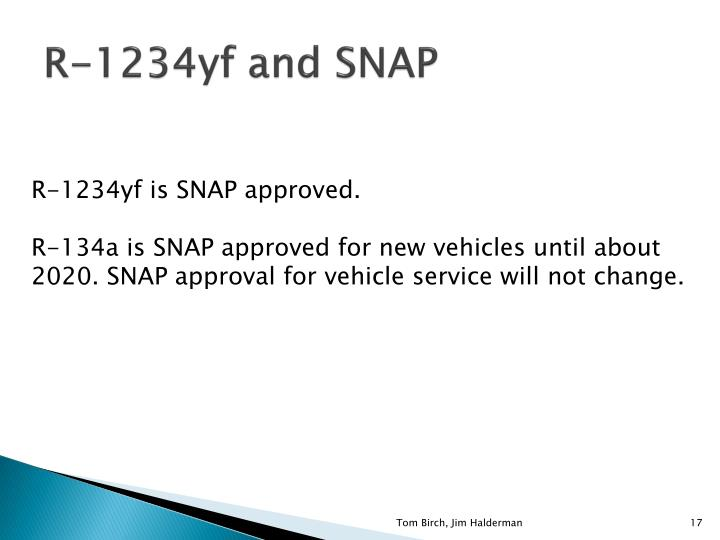 R-1234yf and SNAP