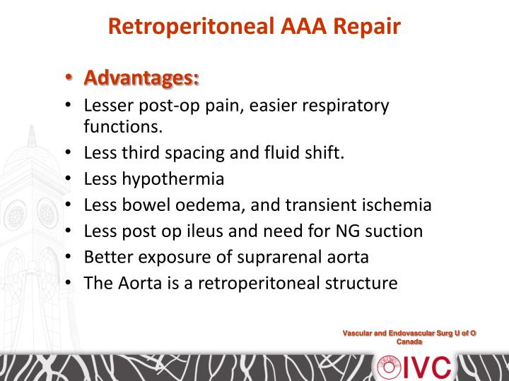 Retroperitoneal aaa repair