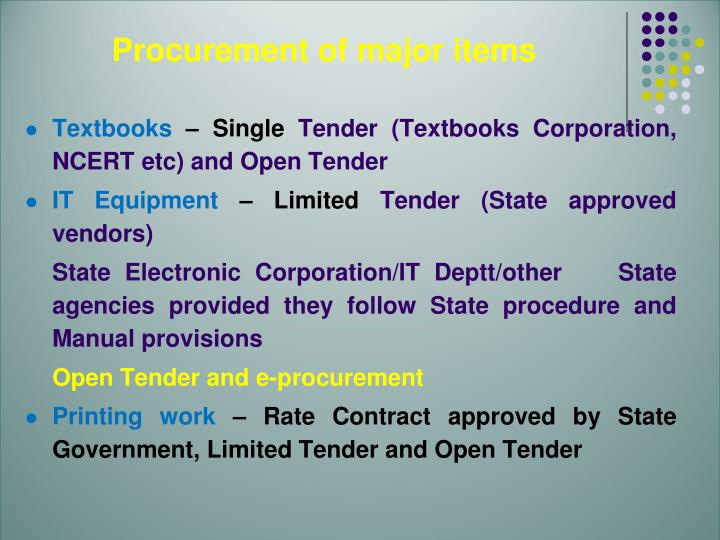 Procurement of major items