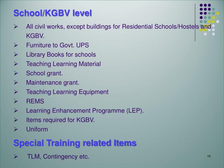 School/KGBV level